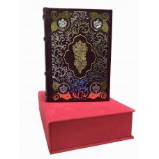 Библия в коробе с накладным крестом,инкрустированная гранатами.